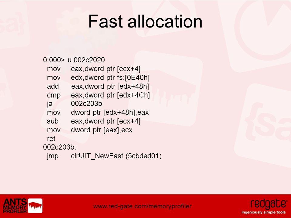 www.red-gate.com/memoryprofiler Fast allocation 0:000> u 002c2020 mov eax,dword ptr [ecx+4] mov edx,dword ptr fs:[0E40h] add eax,dword ptr [edx+48h] cmp eax,dword ptr [edx+4Ch] ja 002c203b mov dword ptr [edx+48h],eax sub eax,dword ptr [ecx+4] mov dword ptr [eax],ecx ret 002c203b: jmp clr!JIT_NewFast (5cbded01)