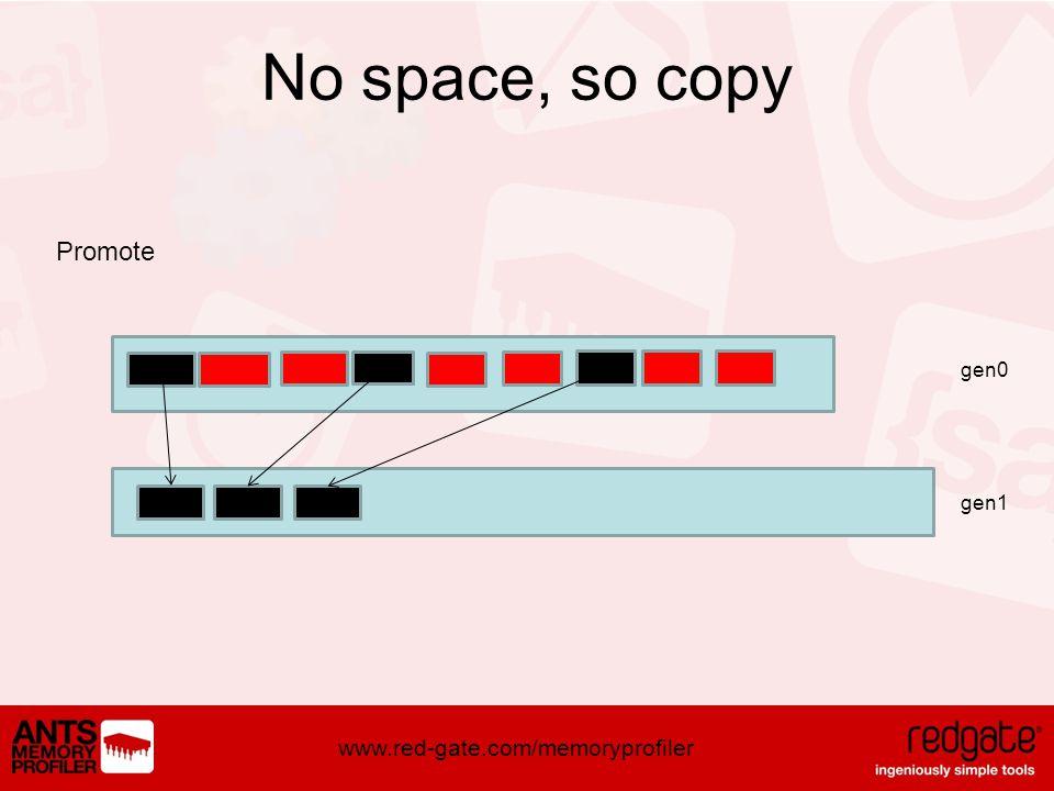 www.red-gate.com/memoryprofiler No space, so copy Promote gen0 gen1