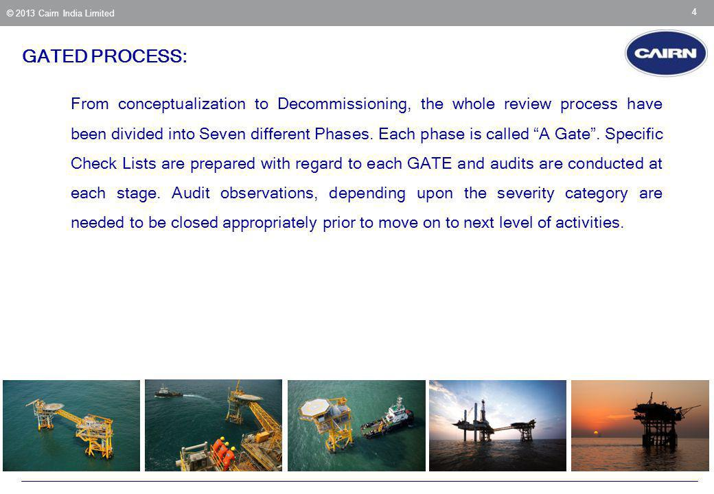© 2013 Cairn India Limited 4 From conceptualization to Decommissioning, the whole review process have been divided into Seven different Phases. Each p