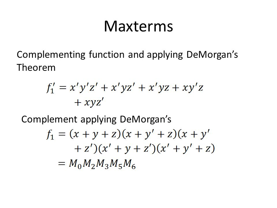 Maxterms Complementing function and applying DeMorgans Theorem Complement applying DeMorgans