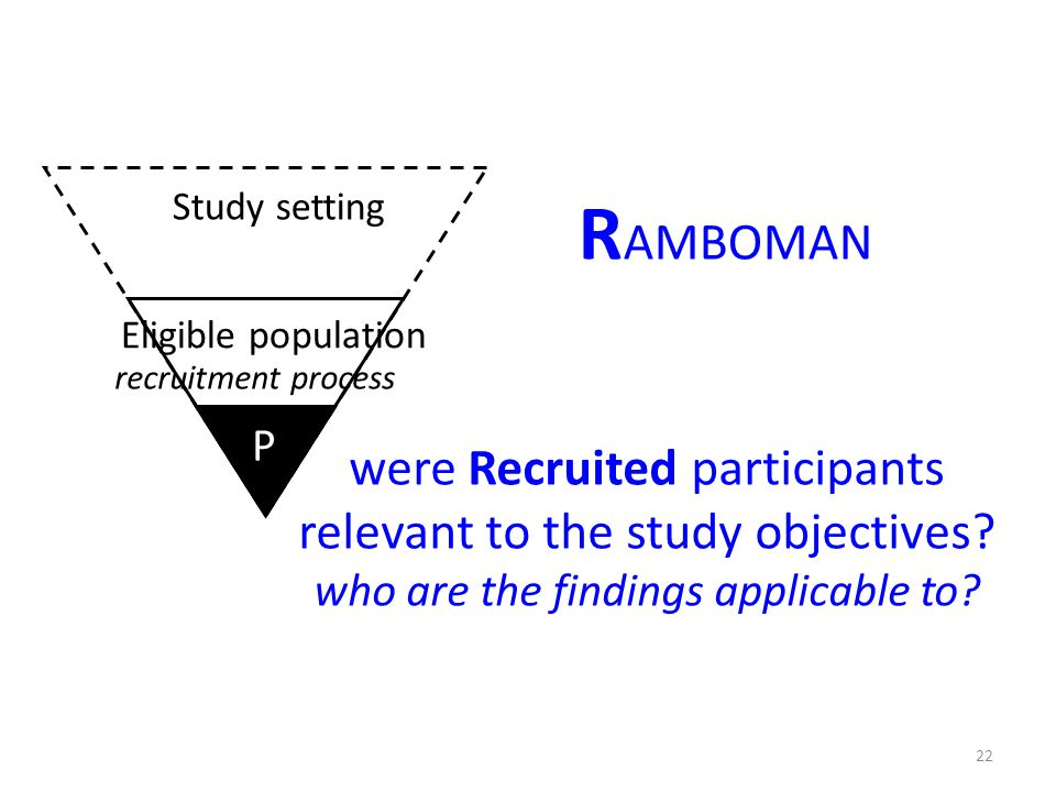 R AMBOMAN were Recruited participants relevant to the study objectives? who are the findings applicable to? P P Study setting Eligible population 22 r