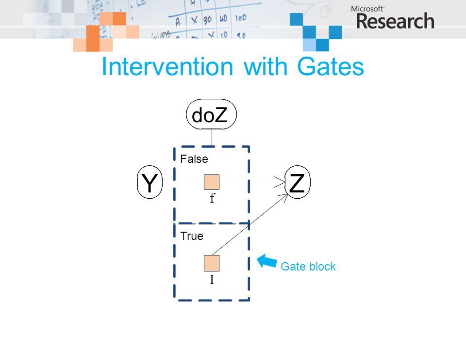 Intervention with Gates Gate block doZ ZY True False f I