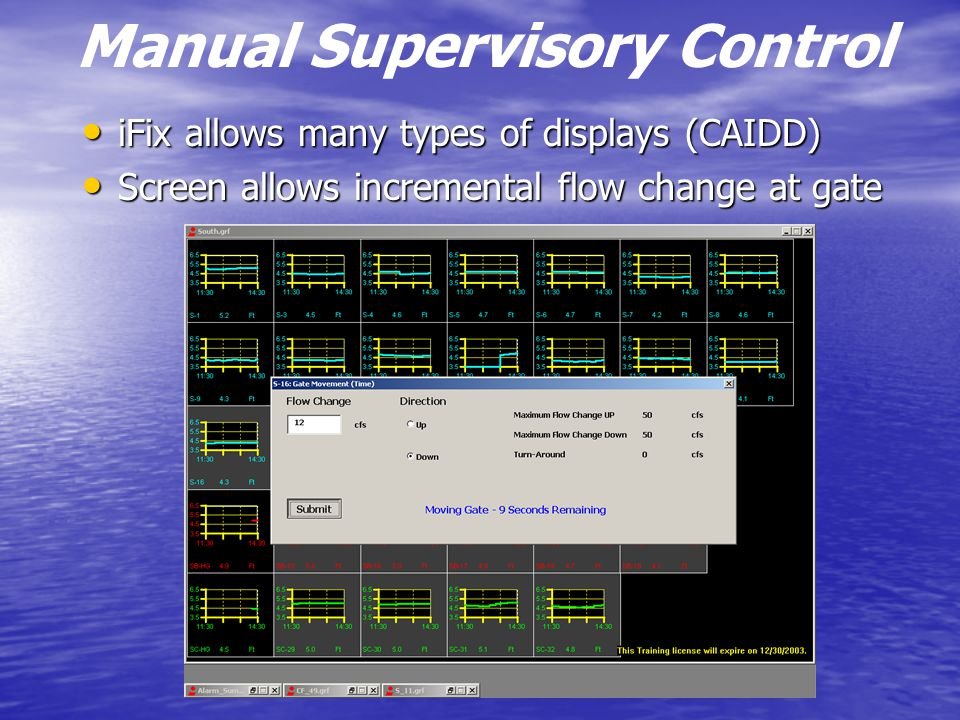 Manual Supervisory Control iFix allows many types of displays (CAIDD) iFix allows many types of displays (CAIDD) Screen allows incremental flow change at gate Screen allows incremental flow change at gate