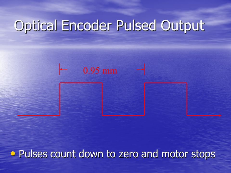 Optical Encoder Pulsed Output Pulses count down to zero and motor stops Pulses count down to zero and motor stops 0.95 mm