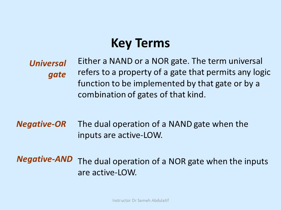 Either a NAND or a NOR gate.
