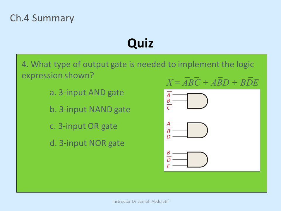 Ch.4 Summary Quiz 4.What type of output gate is needed to implement the logic expression shown.