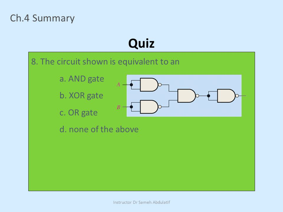 Ch.4 Summary Quiz 8.The circuit shown is equivalent to an a.