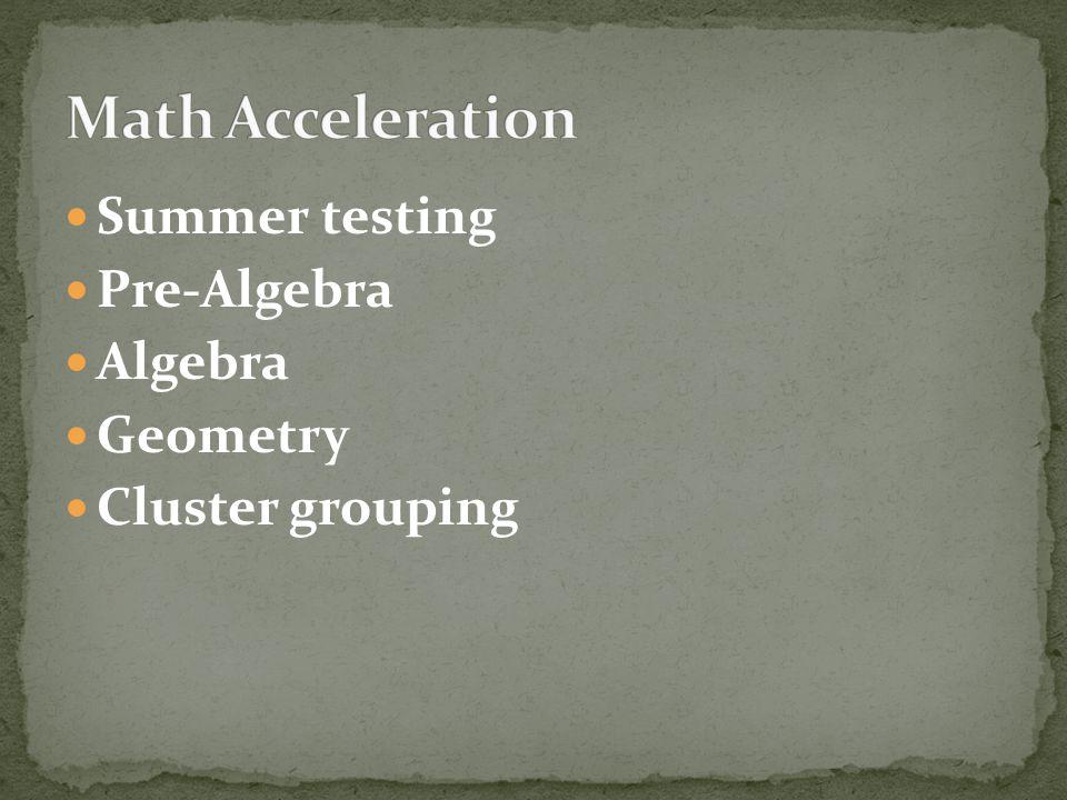Summer testing Pre-Algebra Algebra Geometry Cluster grouping