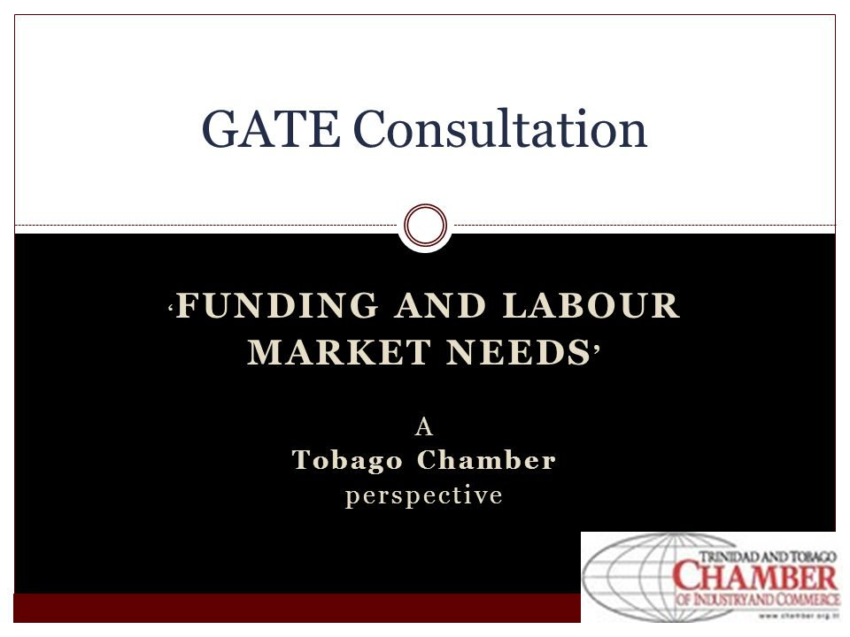 FUNDING AND LABOUR MARKET NEEDS A Tobago Chamber perspective GATE Consultation