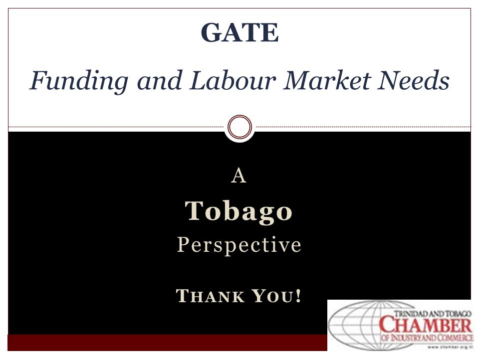 A Tobago Perspective T HANK Y OU ! GATE Funding and Labour Market Needs