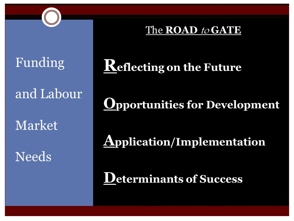 Funding and Labour Market Needs The ROAD to GATE R eflecting on the Future O pportunities for Development A pplication/Implementation D eterminants of Success