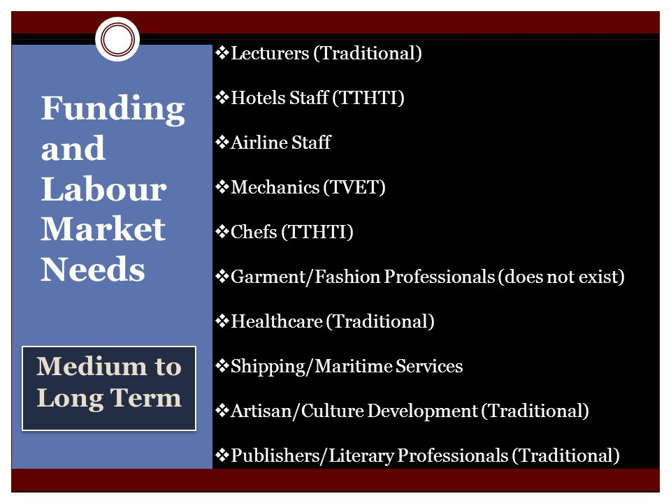 Medium to Long Term Funding and Labour Market Needs Lecturers (Traditional) Hotels Staff (TTHTI) Airline Staff Mechanics (TVET) Chefs (TTHTI) Garment/Fashion Professionals (does not exist) Healthcare (Traditional) Shipping/Maritime Services Artisan/Culture Development (Traditional) Publishers/Literary Professionals (Traditional)