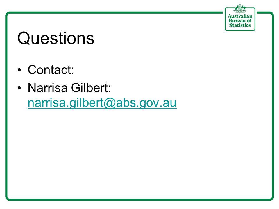 Questions Contact: Narrisa Gilbert: narrisa.gilbert@abs.gov.au narrisa.gilbert@abs.gov.au