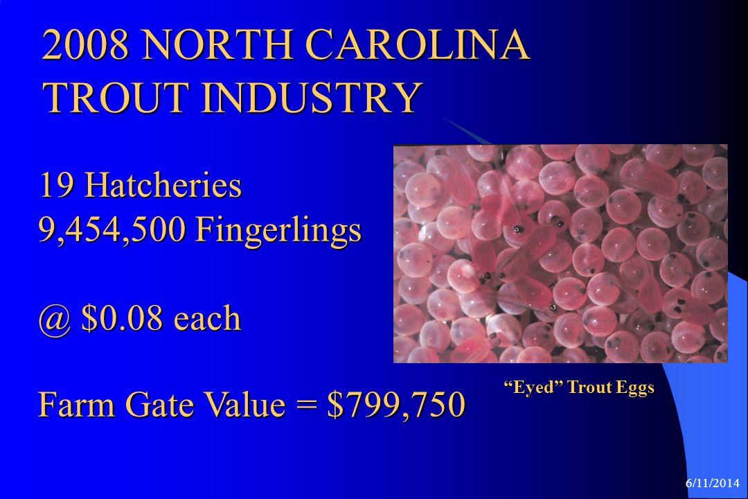 6/11/2014 2008 NORTH CAROLINA TILAPIA INDUSTRY STATUS 8 Growout Fish Barns 1,059,400 Pounds average price $2.19/ lb.