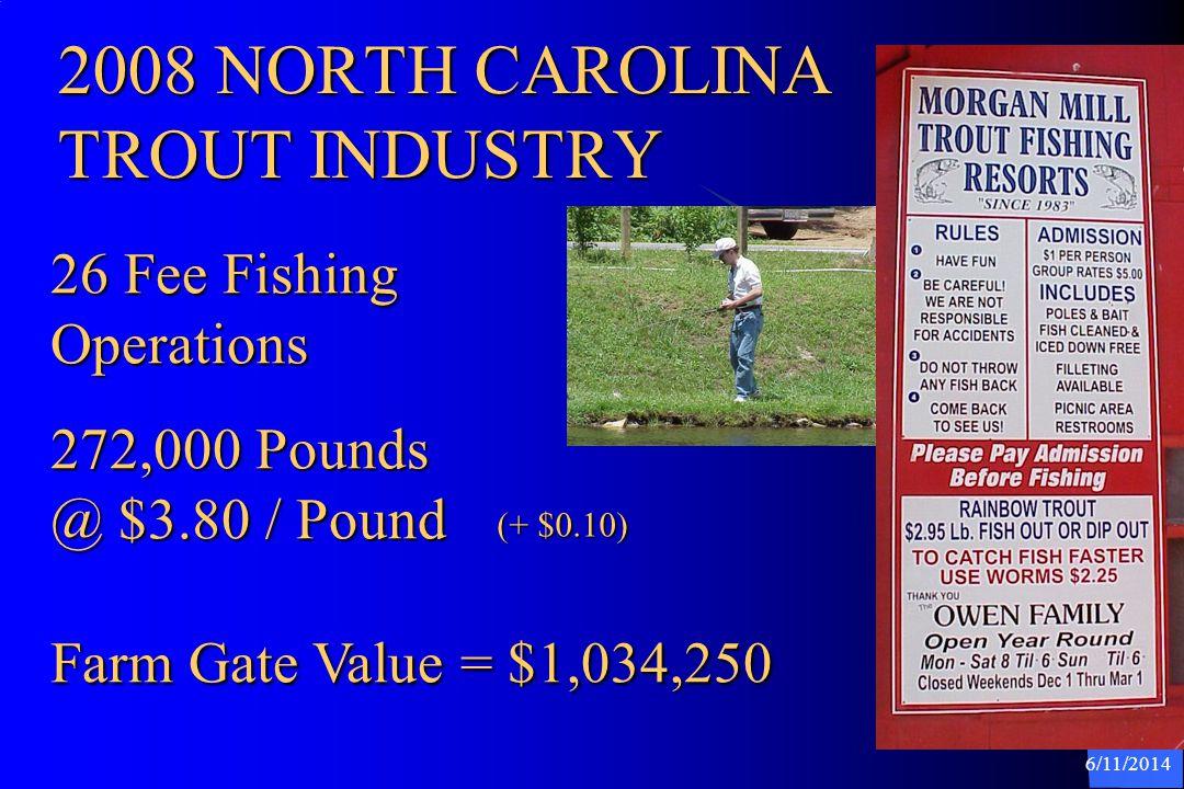 6/11/2014 2008 NORTH CAROLINA Aquaculture Operations and Farm Gate Value 147 Farms & 249 Shell Fish Leases 279 Crab Shedders Farm Gate = $24,946,339