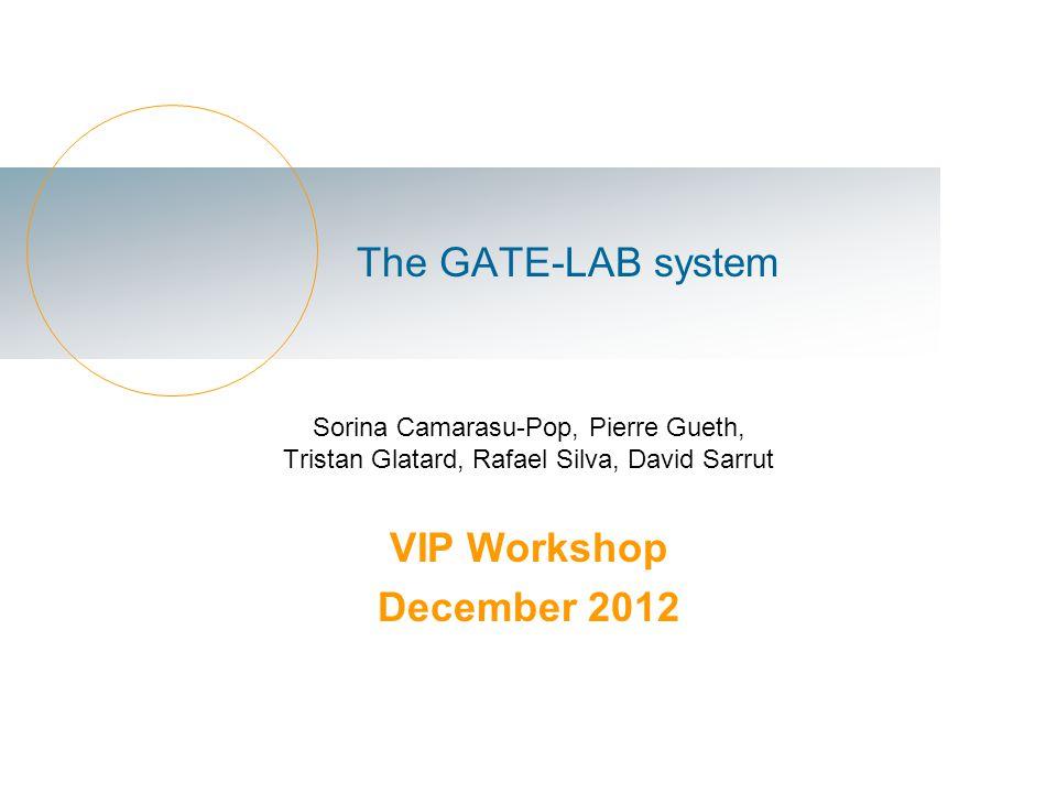The GATE-LAB system Sorina Camarasu-Pop, Pierre Gueth, Tristan Glatard, Rafael Silva, David Sarrut VIP Workshop December 2012