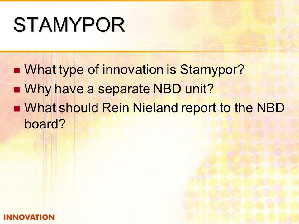 STAMYPOR What type of innovation is Stamypor? Why have a separate NBD unit? What should Rein Nieland report to the NBD board?
