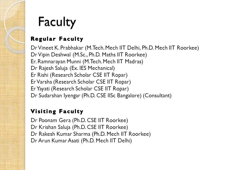 Faculty Dr Vineet K. Prabhakar (M.Tech. Mech IIT Delhi, Ph.D.