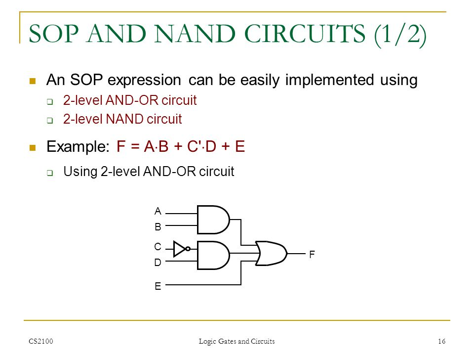 CS2100 Logic Gates and Circuits 16 SOP AND NAND CIRCUITS (1/2) An SOP expression can be easily implemented using 2-level AND-OR circuit 2-level NAND c
