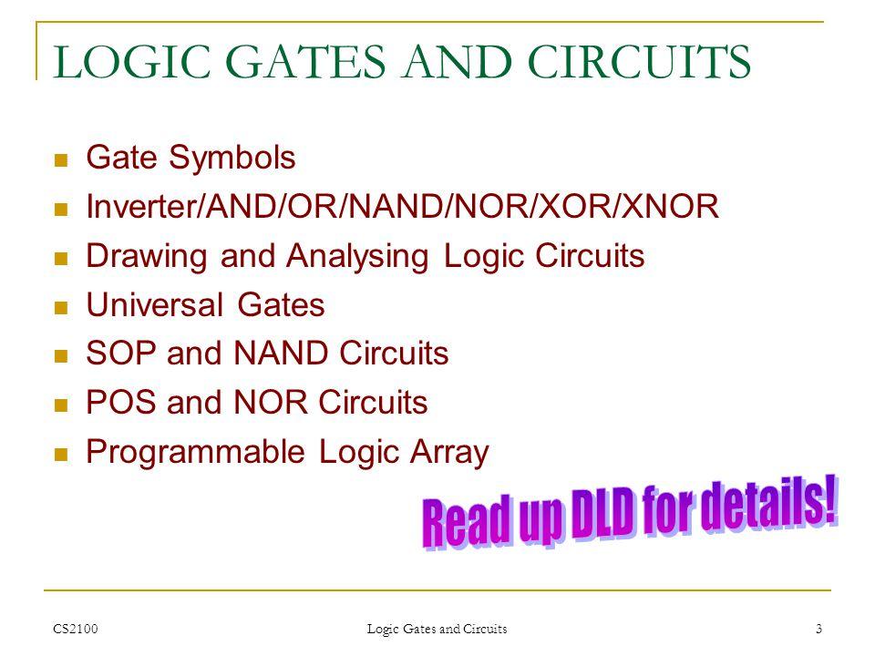 CS2100 Logic Gates and Circuits 3 LOGIC GATES AND CIRCUITS Gate Symbols Inverter/AND/OR/NAND/NOR/XOR/XNOR Drawing and Analysing Logic Circuits Univers