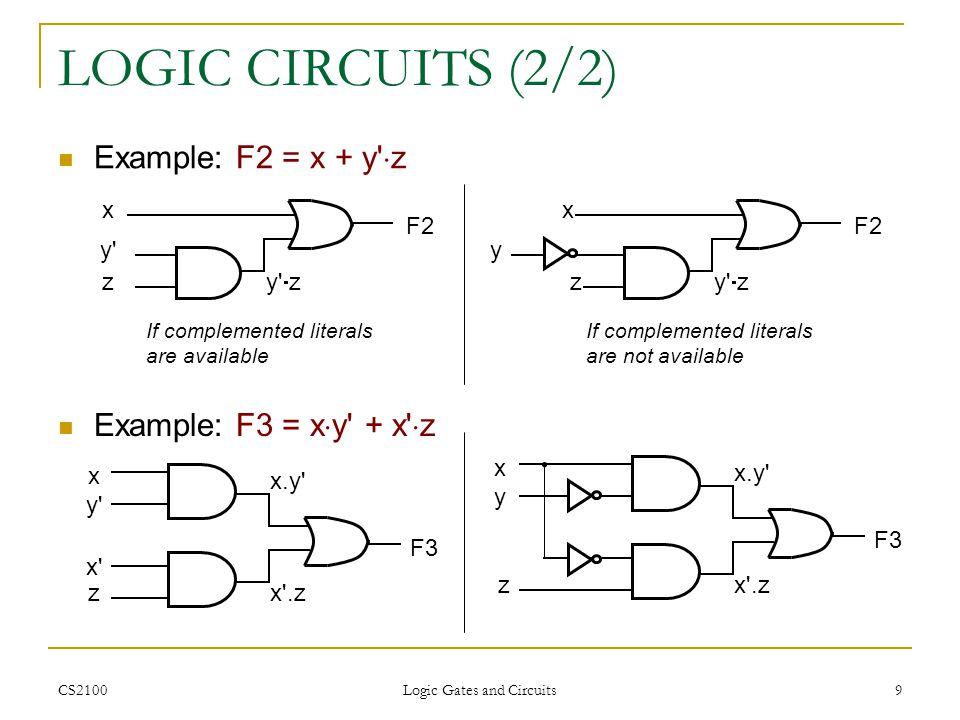 CS2100 Logic Gates and Circuits 9 LOGIC CIRCUITS (2/2) Example: F2 = x + y' z Example: F3 = x y' + x' z x y' z F2 y' z If complemented literals are av