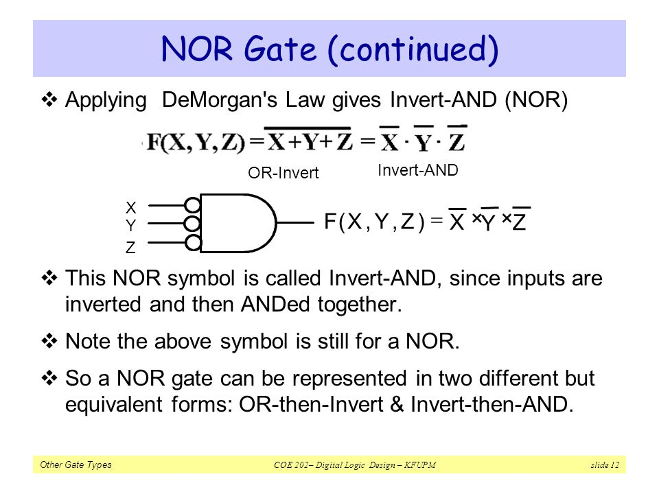 Other Gate Types COE 202– Digital Logic Design – KFUPM slide 12 NOR Gate (continued) Applying DeMorgan's Law gives Invert-AND (NOR) This NOR symbol is