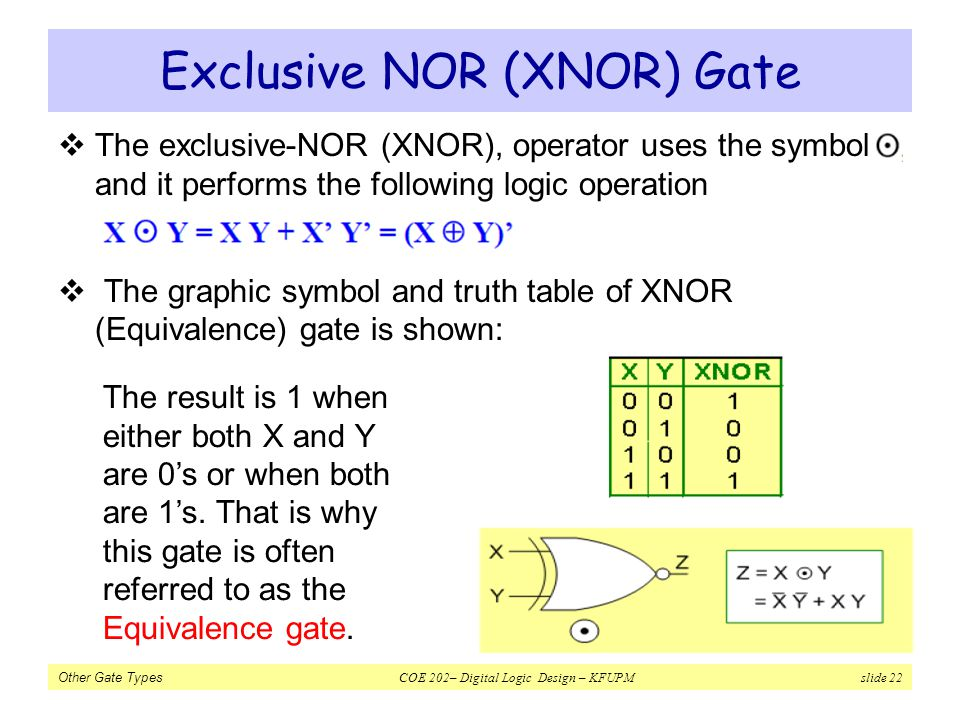 Other Gate Types COE 202– Digital Logic Design – KFUPM slide 22 Exclusive NOR (XNOR) Gate The exclusive-NOR (XNOR), operator uses the symbol, and it p