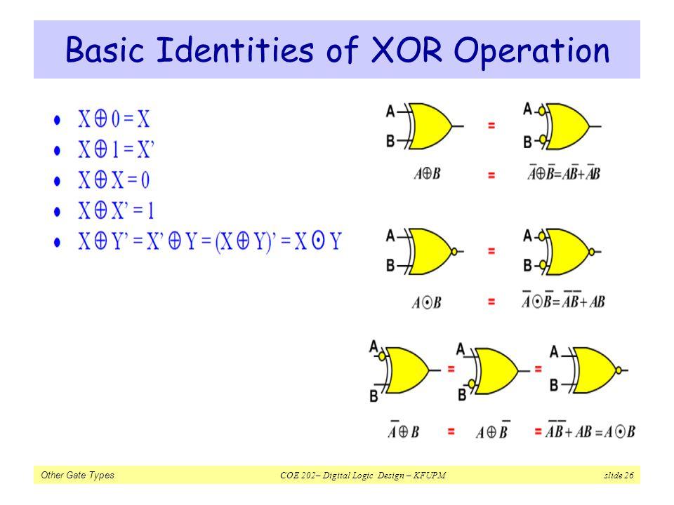 Other Gate Types COE 202– Digital Logic Design – KFUPM slide 26 Basic Identities of XOR Operation