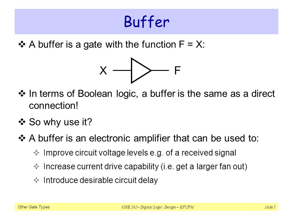 Other Gate Types COE 202– Digital Logic Design – KFUPM slide 5 Buffer A buffer is a gate with the function F = X: In terms of Boolean logic, a buffer