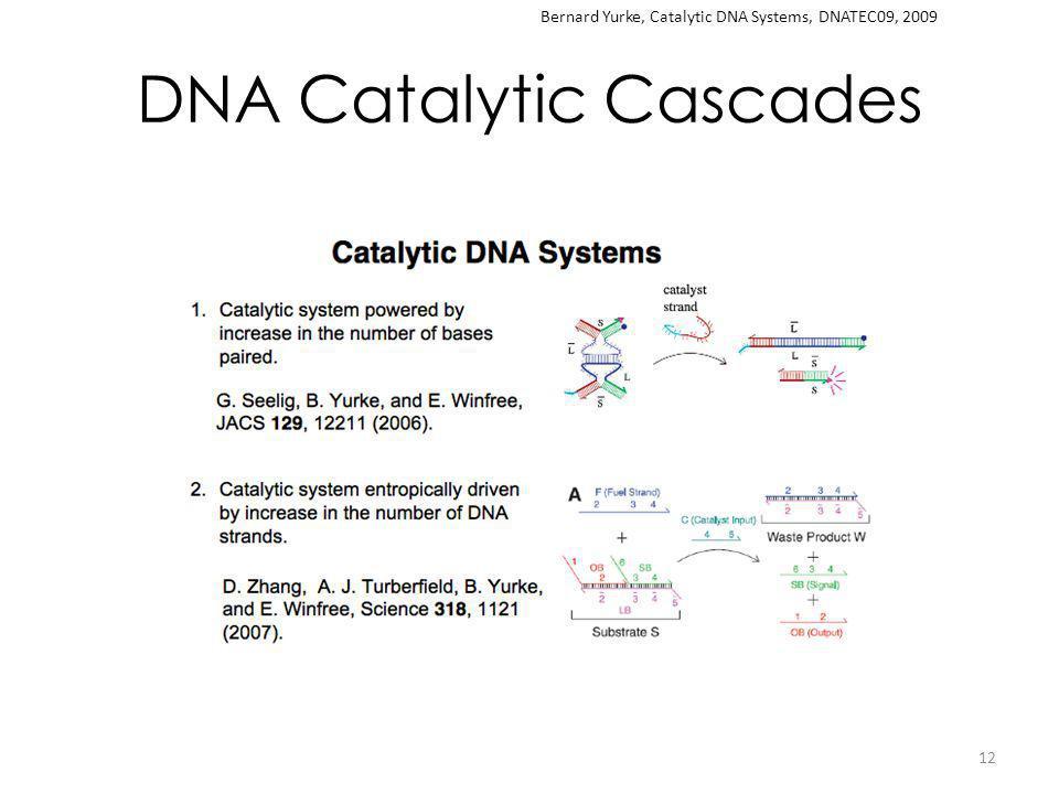DNA Catalytic Cascades 12 Bernard Yurke, Catalytic DNA Systems, DNATEC09, 2009