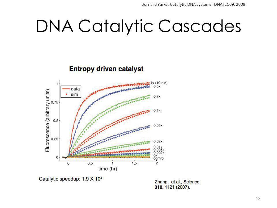 DNA Catalytic Cascades 18 Bernard Yurke, Catalytic DNA Systems, DNATEC09, 2009