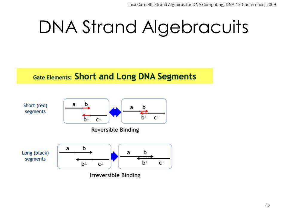 DNA Strand Algebracuits 46 Luca Cardelli, Strand Algebras for DNA Computing, DNA 15 Conference, 2009
