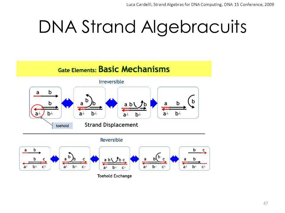 DNA Strand Algebracuits 47 Luca Cardelli, Strand Algebras for DNA Computing, DNA 15 Conference, 2009