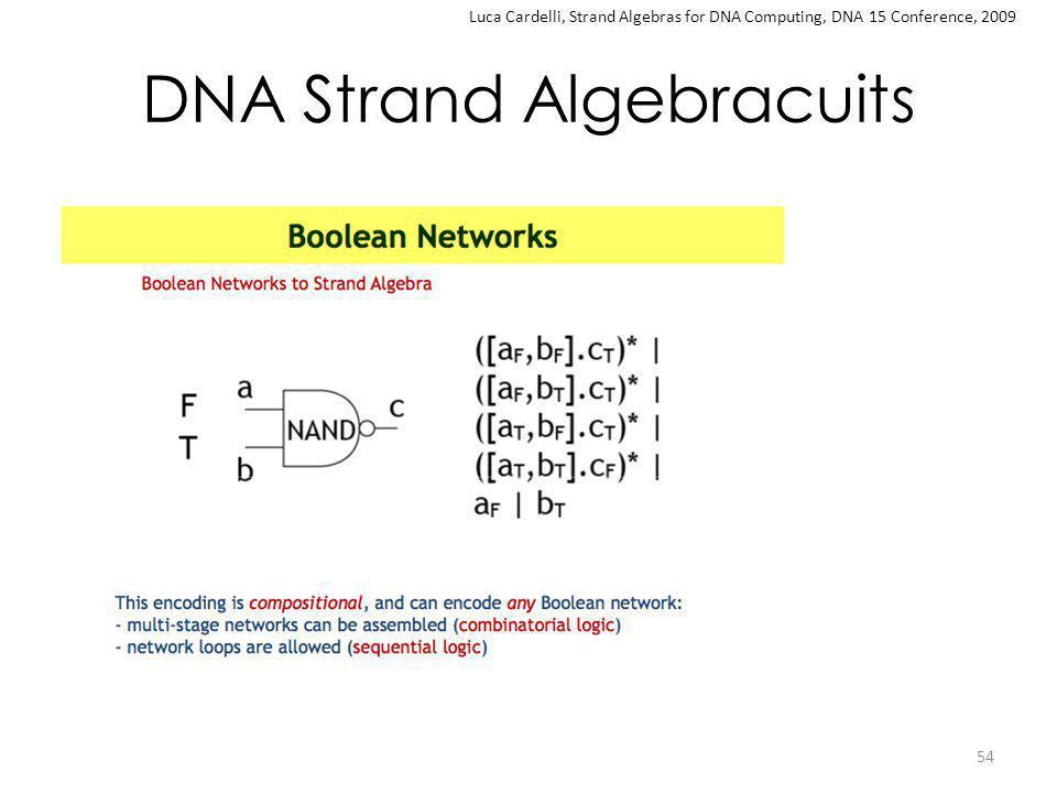 DNA Strand Algebracuits 54 Luca Cardelli, Strand Algebras for DNA Computing, DNA 15 Conference, 2009
