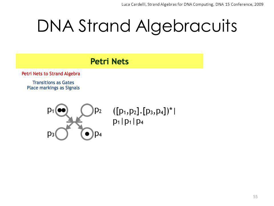 DNA Strand Algebracuits 55 Luca Cardelli, Strand Algebras for DNA Computing, DNA 15 Conference, 2009