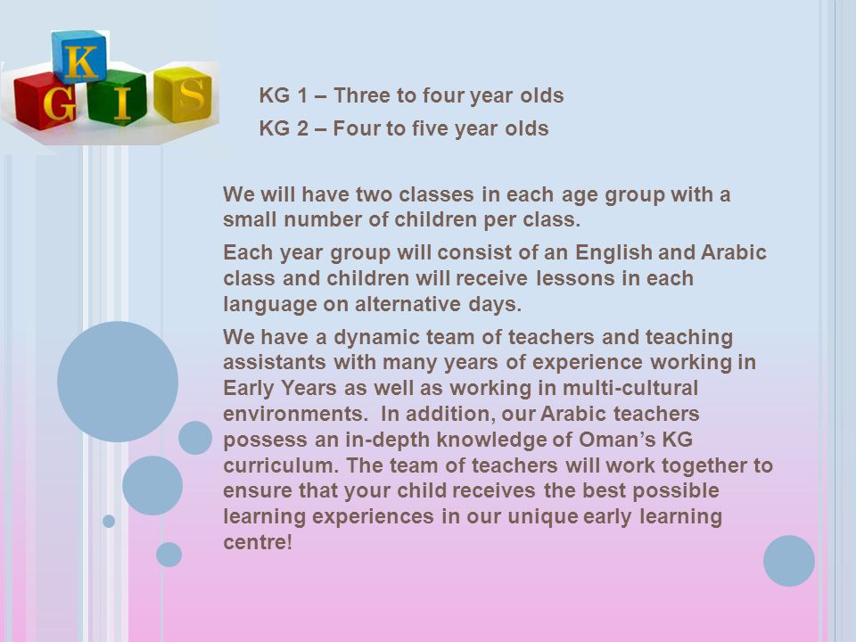 KG 1 – Three to four year olds KG 2 – Four to five year olds We will have two classes in each age group with a small number of children per class. Eac