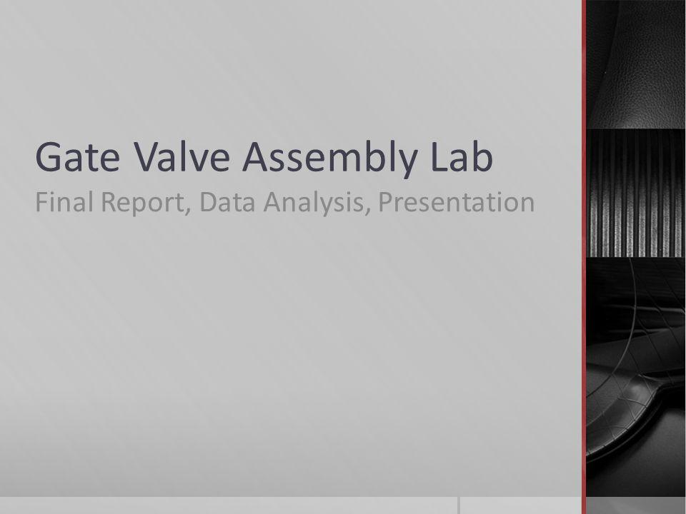 Gate Valve Assembly Lab Final Report, Data Analysis, Presentation