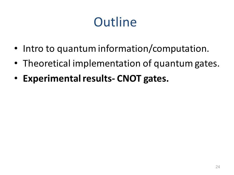 24 Outline Intro to quantum information/computation.
