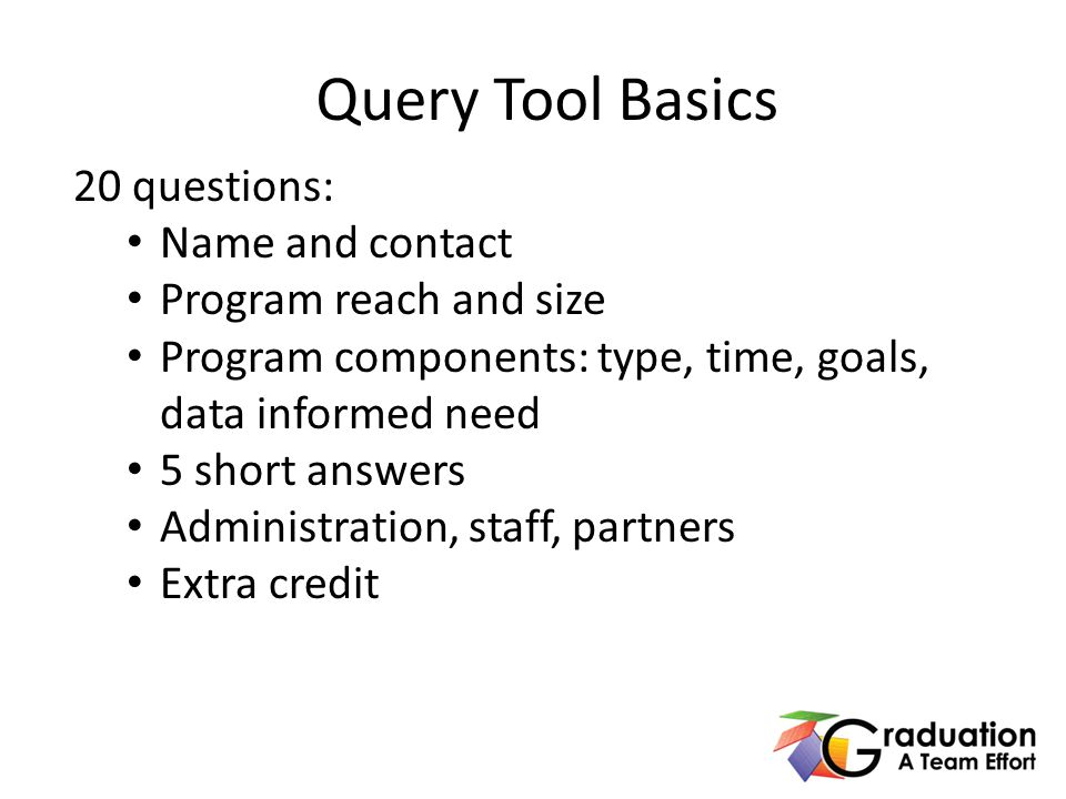 20 questions: Name and contact Program reach and size Program components: type, time, goals, data informed need 5 short answers Administration, staff, partners Extra credit Query Tool Basics