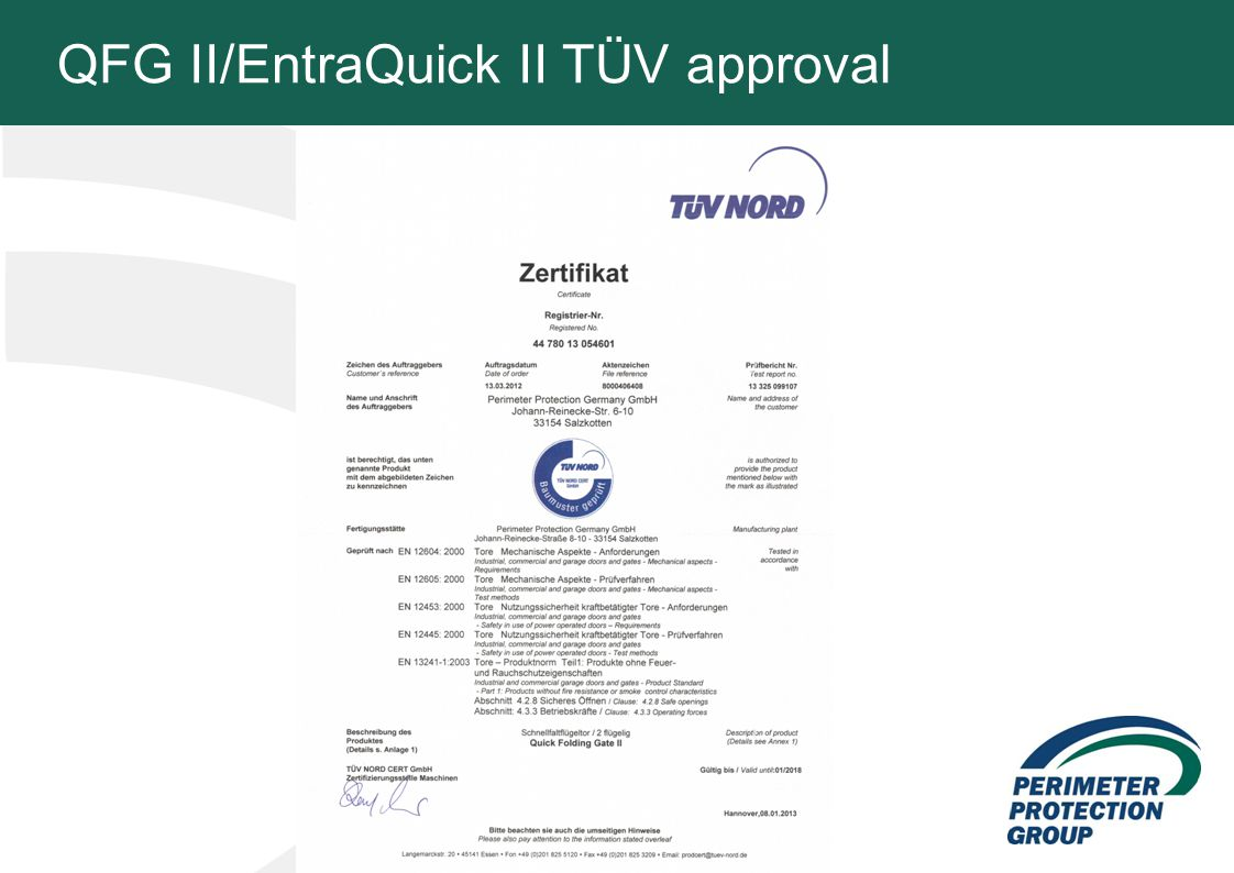 QFG II/EntraQuick II TÜV approval 6