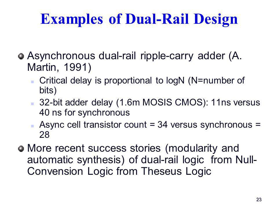 23 Examples of Dual-Rail Design Asynchronous dual-rail ripple-carry adder (A.