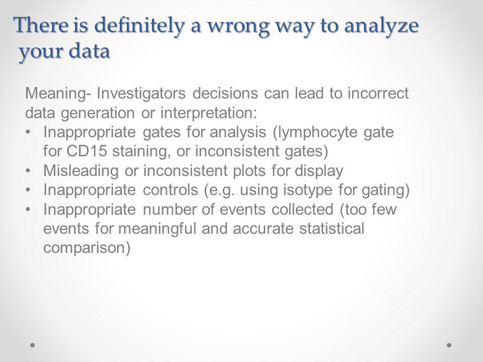 There is definitely a wrong way to analyze your data your data Meaning- Investigators decisions can lead to incorrect data generation or interpretation: Inappropriate gates for analysis (lymphocyte gate for CD15 staining, or inconsistent gates) Misleading or inconsistent plots for display Inappropriate controls (e.g.