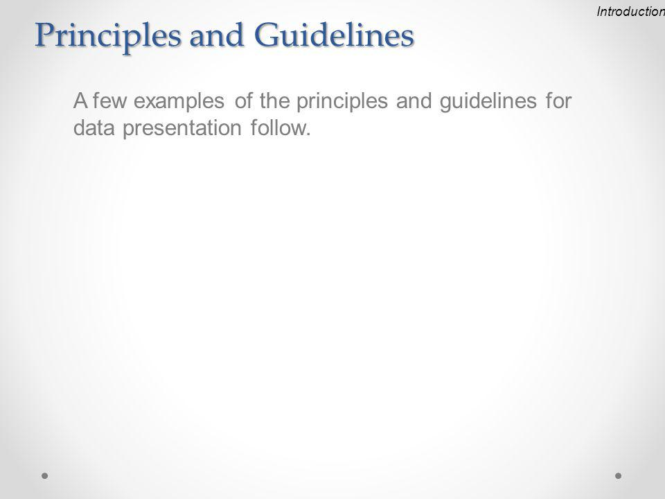 Principles and Guidelines A few examples of the principles and guidelines for data presentation follow.