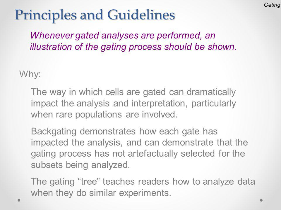 Principles and Guidelines Whenever gated analyses are performed, an illustration of the gating process should be shown.