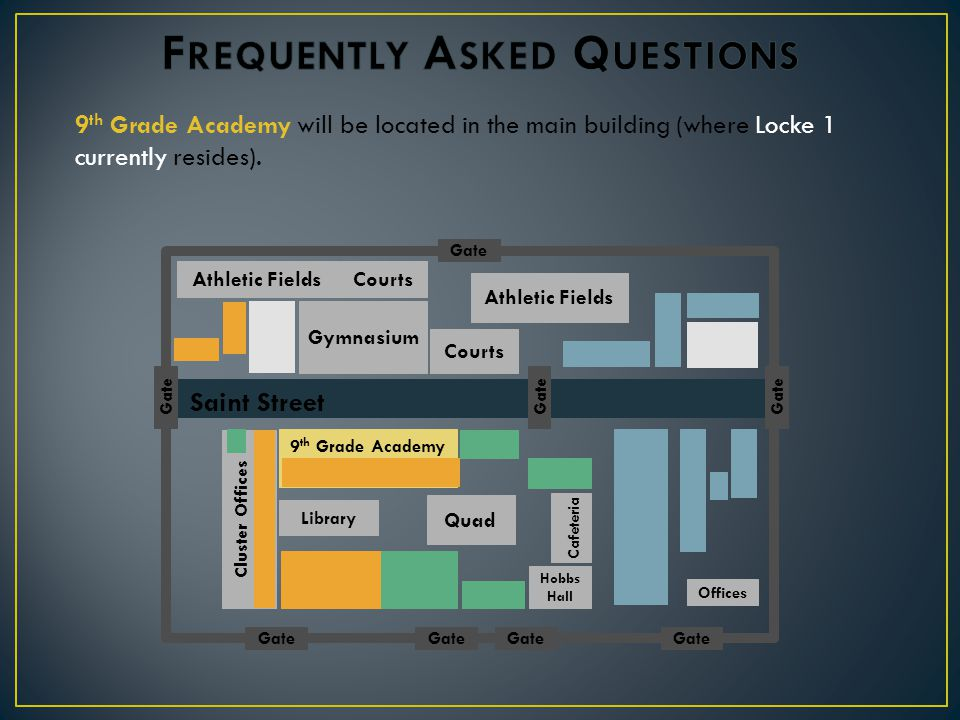 9 th Grade Academy will be located in the main building (where Locke 1 currently resides).