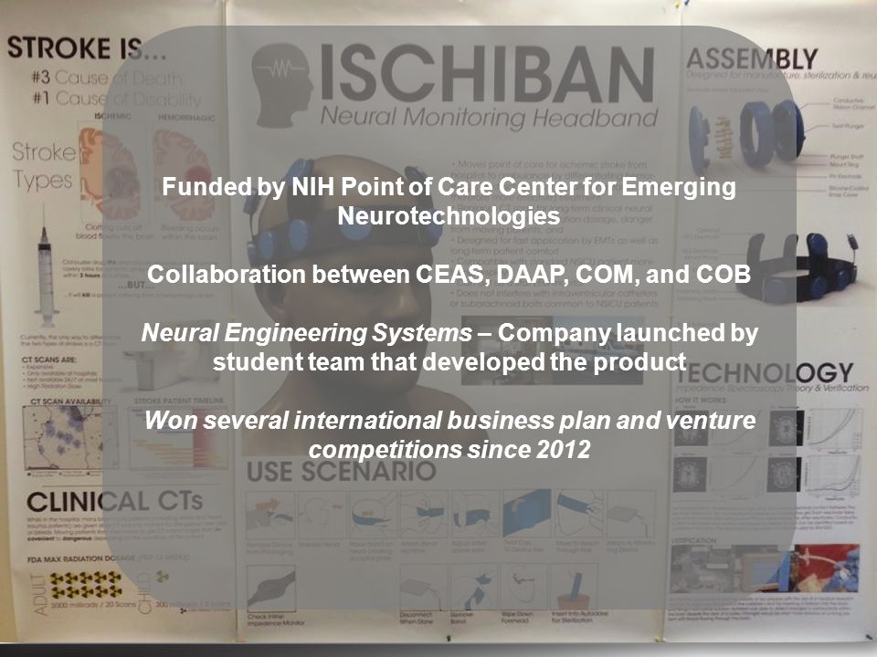 Funded by NIH Point of Care Center for Emerging Neurotechnologies Collaboration between CEAS, DAAP, COM, and COB Neural Engineering Systems – Company