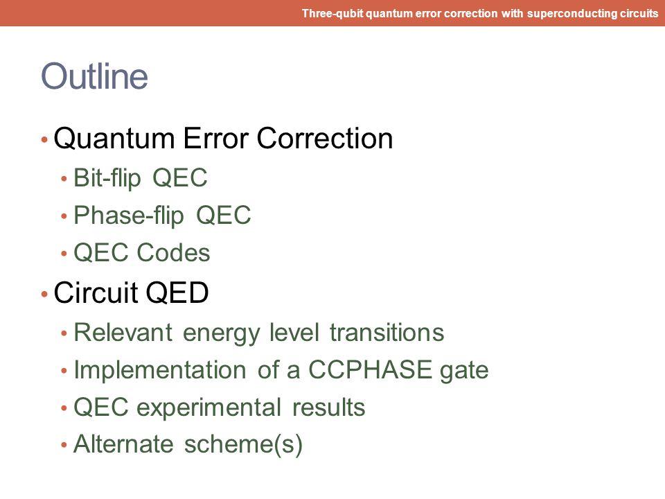 Abraham Asfaw Princeton University Three-qubit quantum error correction with superconducting circuits M. Reed et al. Nature 482, 382 (2012) Three-qubi