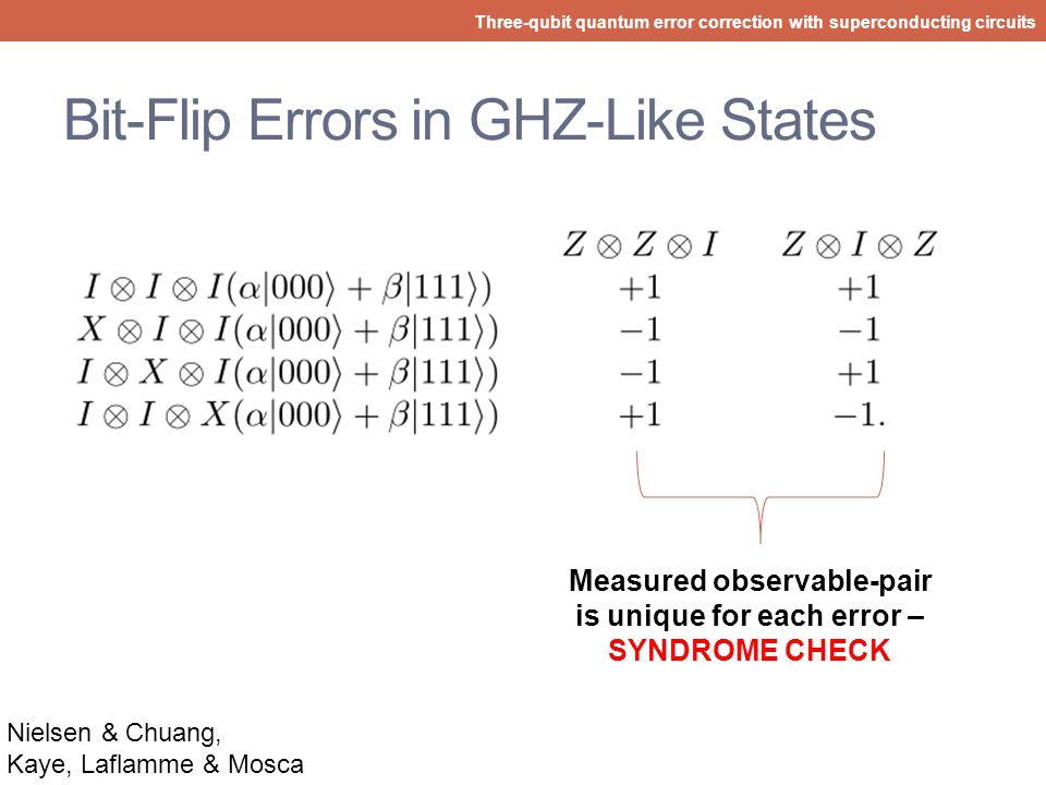 Bit-Flip Quantum Error Correction Three-qubit quantum error correction with superconducting circuits Without decoding Nielsen & Chuang, Kaye, Laflamme