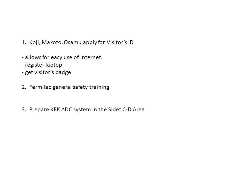 Tasks to do for (Warm) Powering up of Module 72 1.