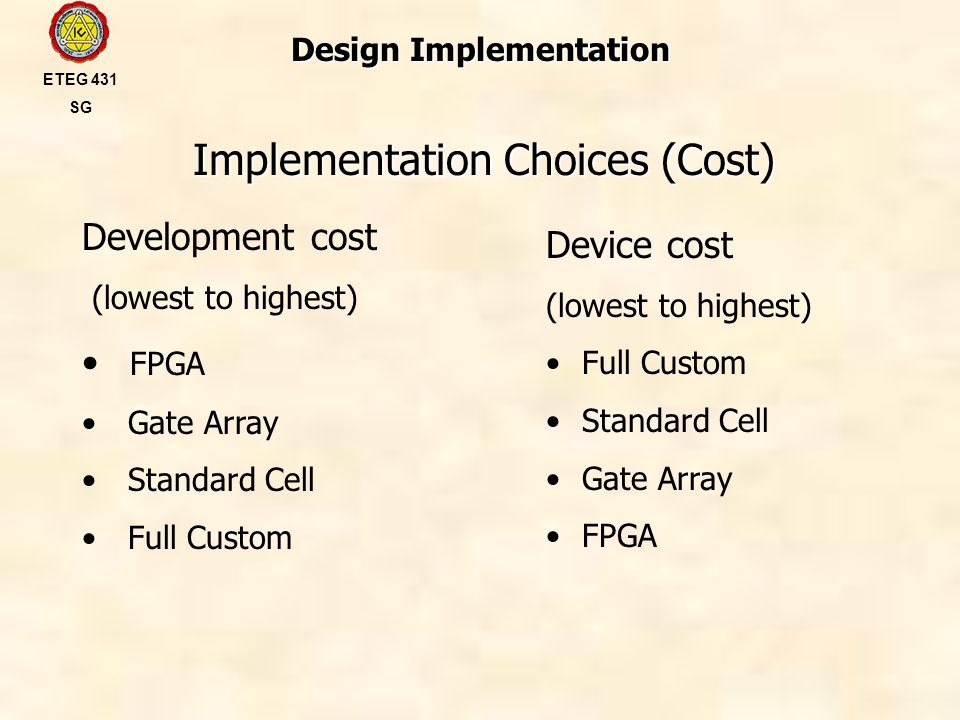 Design Implementation Implementation Choices (Cost) ETEG 431 SG Development cost (lowest to highest) FPGA Gate Array Standard Cell Full Custom Device cost (lowest to highest) Full Custom Standard Cell Gate Array FPGA
